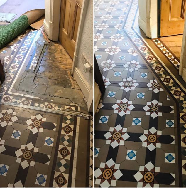 Geometric tiled floor restoration